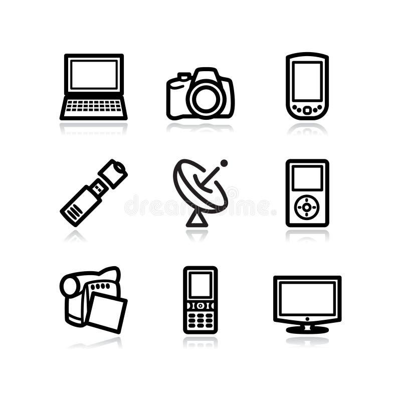 Zwarte Webpictogrammen, reeks 16 stock afbeeldingen