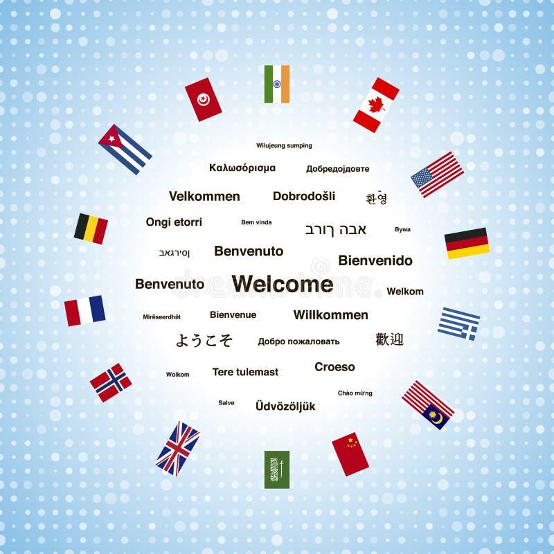 Zwarte welkome uitdrukkingen in verschillende talen van de de wereld en vlaggen van landen vector illustratie