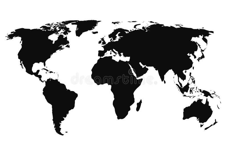 Zwarte Wereldkaart, continenten van de planeet - vector vector illustratie