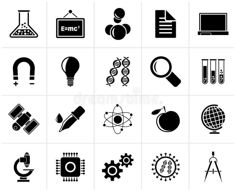 Zwarte wetenschap, onderzoek en onderwijspictogrammen stock illustratie