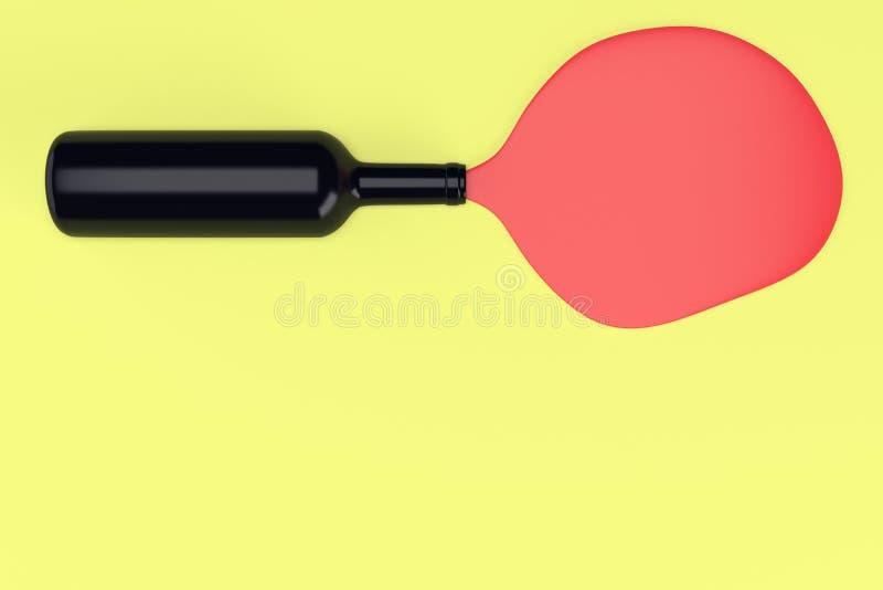 Zwarte wijn bootle op gele achtergrond stock illustratie