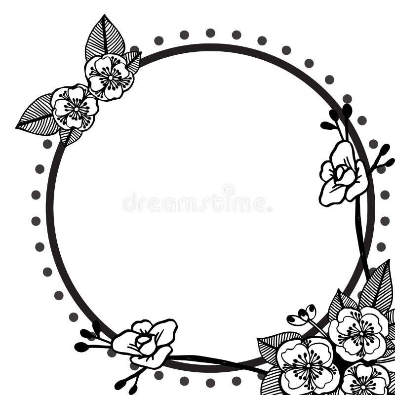 Zwarte wijnoogst van bloemenkader, elegante stijlkaarten, groetkaart Vector vector illustratie
