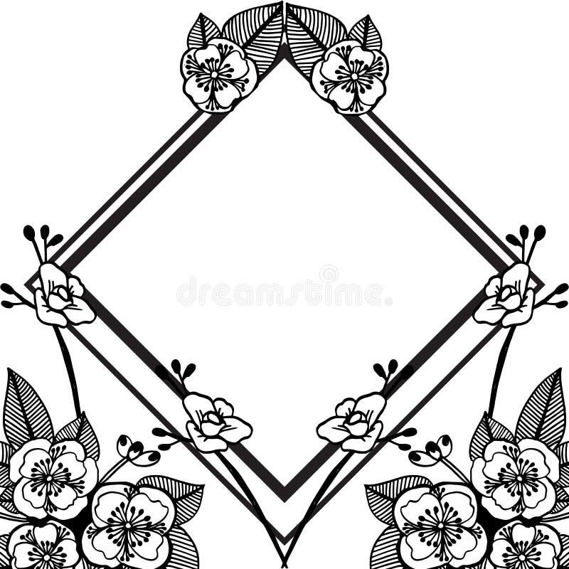 Zwarte wijnoogst van bloemenkader, elegante stijlkaarten, groetkaart Vector stock illustratie