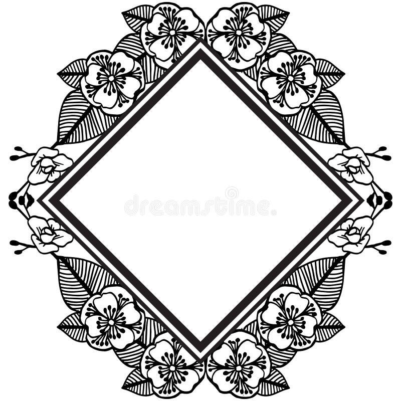 Zwarte wijnoogst van bloemenkader, elegante stijlkaarten, groetkaart Vector royalty-vrije illustratie