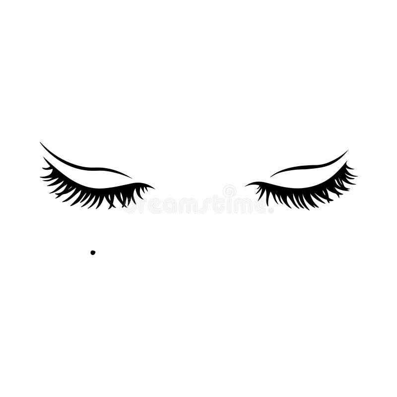 Zwarte wimpers Mascara enig decoratief element stock illustratie