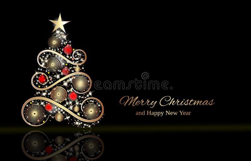Zwarte winterfeestsjabloon met kerstbrief stock illustratie
