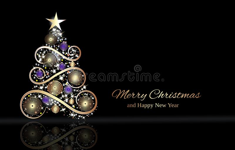 Zwarte winterfeestsjabloon met kerstbrief vector illustratie