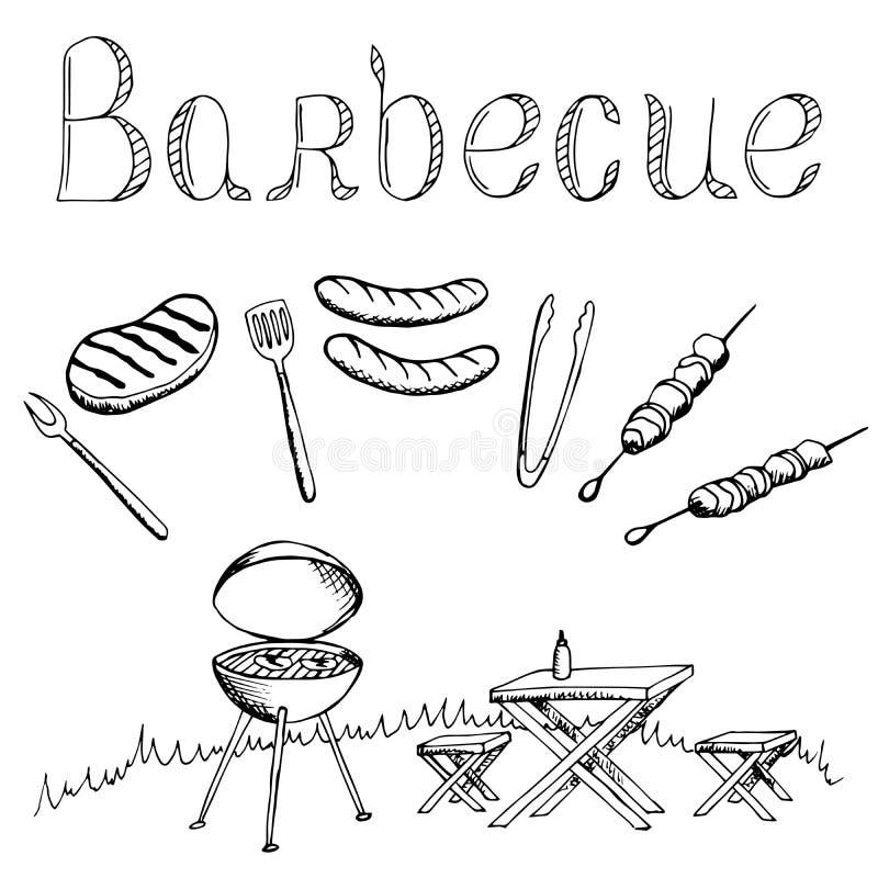 Zwarte wit geïsoleerde illustratie van de barbecue de grafische kunst stock illustratie