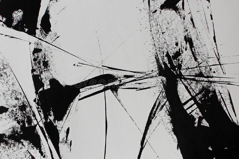 Zwarte witte abstractie met acrylverf stock illustratie