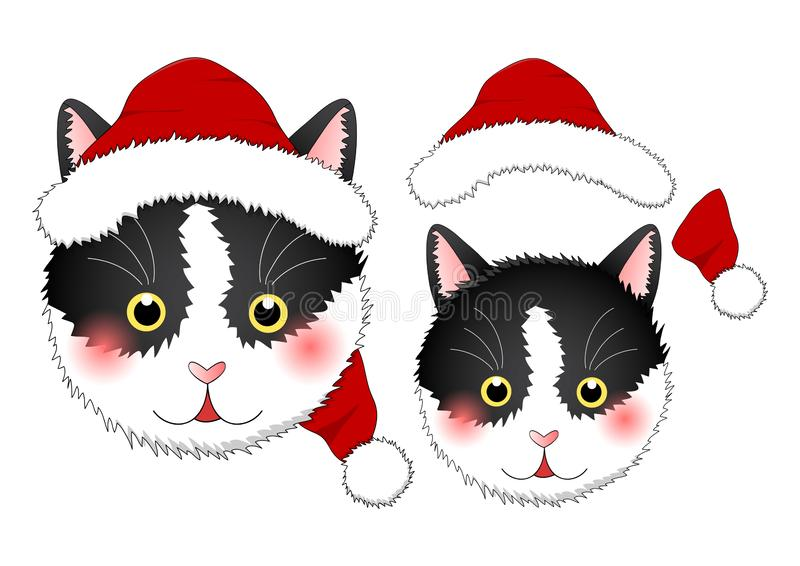 Zwarte Witte Cat Santa Claus Geïsoleerdj op witte achtergrond Vector illustratie vector illustratie