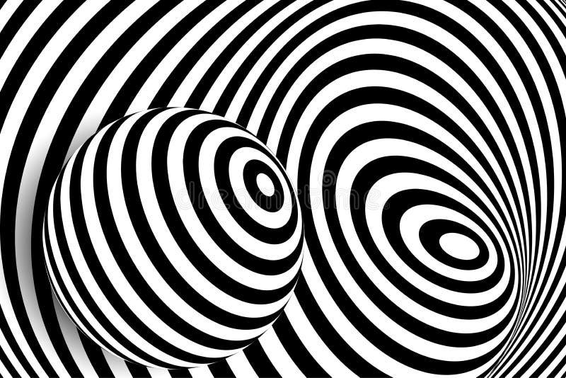 Zwarte witte 3d de balillusie van de lijnvervorming stock illustratie
