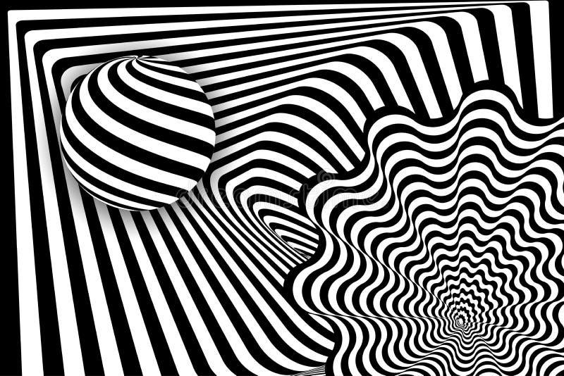 Zwarte witte 3d de balillusie van de lijnvervorming vector illustratie