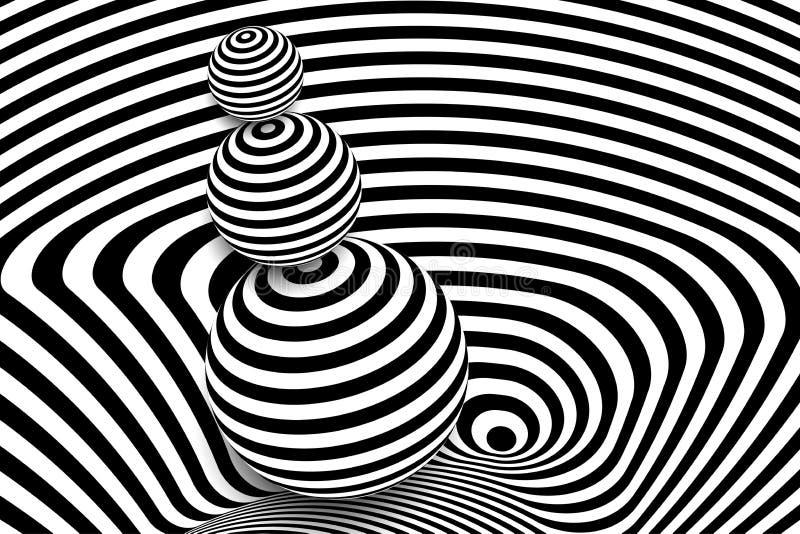 Zwarte witte 3d de balillusie van de lijnvervorming royalty-vrije illustratie