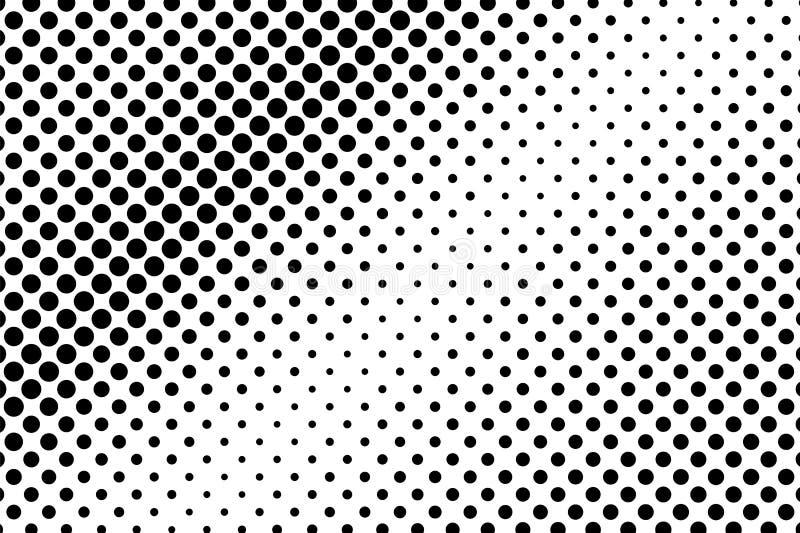 Zwarte witte dunne langzaam verdwenen gestippelde gradiënt Halftintachtergrond royalty-vrije illustratie