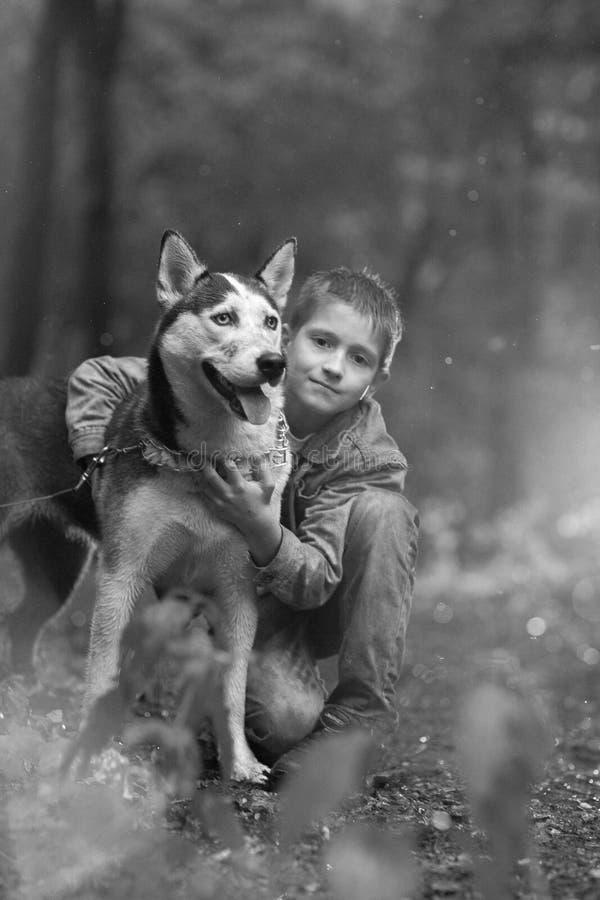 Zwarte witte fotojongen en zijn hond schor op de achtergrond van bladeren in de lente royalty-vrije stock fotografie
