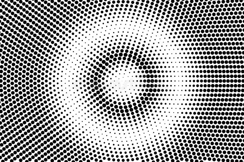 Zwarte witte gecentreerde gestippelde gradiënt Halftintachtergrond stock illustratie