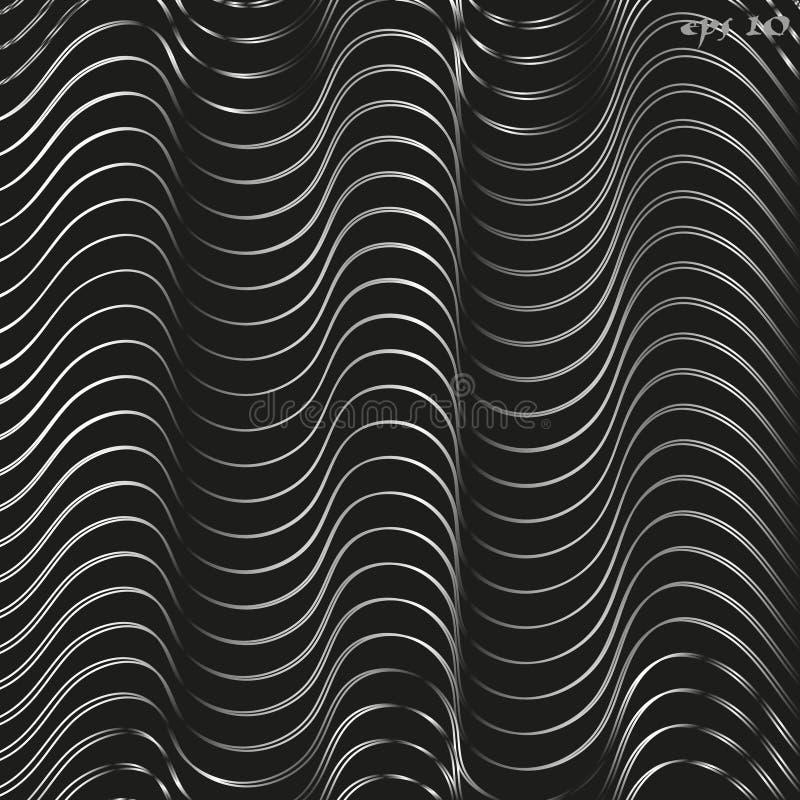 Zwarte witte golftextuur stock illustratie