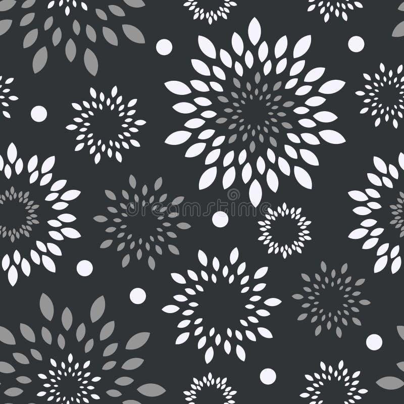 Zwarte witte, grijze bloemenachtergrond Zwart-wit bloem vector naadloze naadloos stock illustratie
