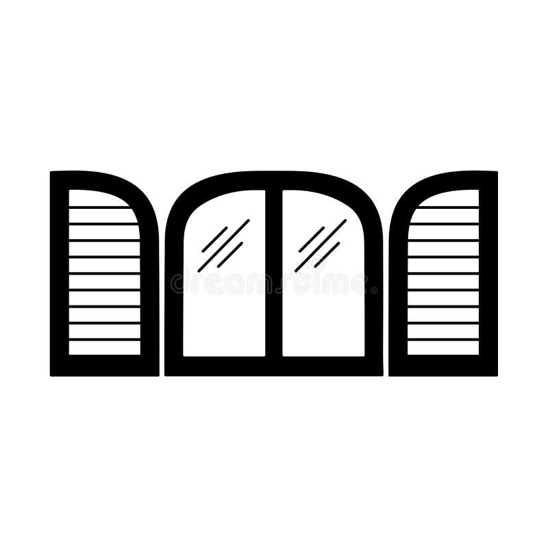 Zwarte & witte illustratie van oud vensterblind Vector vlak pictogram van houten uitstekende boogjaloezie Geïsoleerd Voorwerp royalty-vrije illustratie