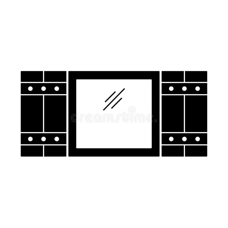Zwarte & witte illustratie van oud vensterblind Vector vlak pictogram van houten uitstekende openluchtjaloezie Geïsoleerd Voorwer royalty-vrije illustratie
