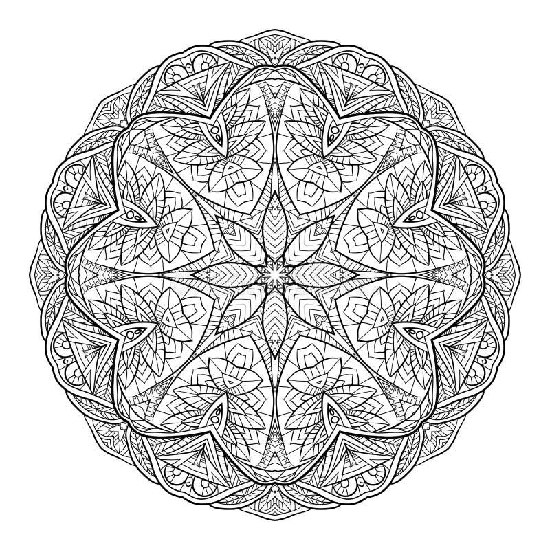 Zwarte witte krabbel cirkelmandala met een bohopatroon royalty-vrije illustratie