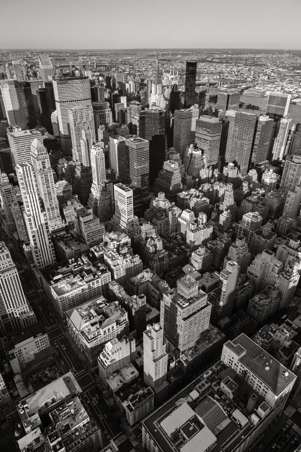 Zwarte & Witte luchtmening van NYC Verticaal New York royalty-vrije stock foto