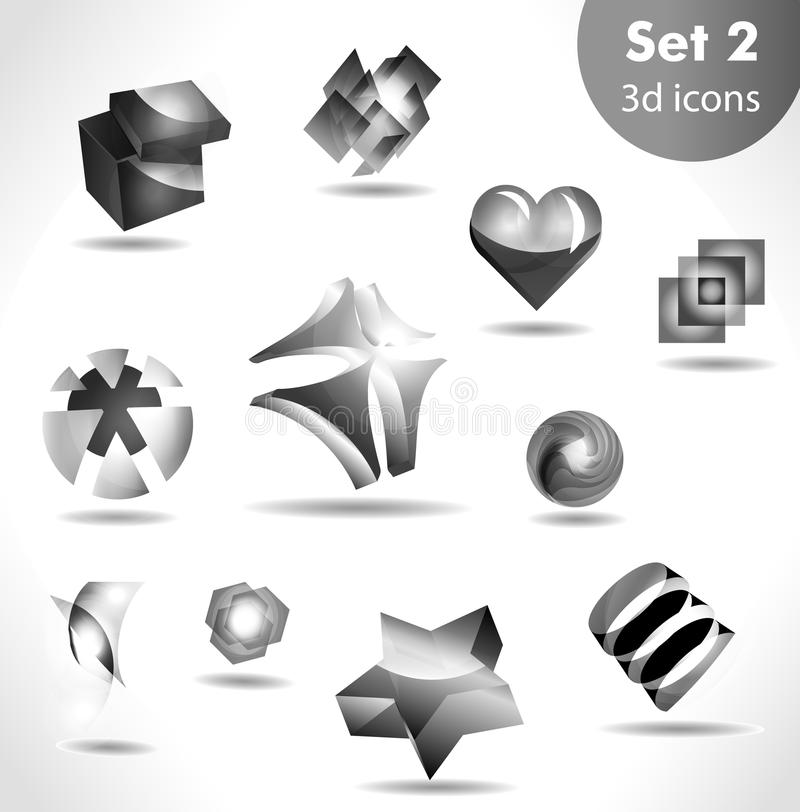 Zwarte witte pictogramreeks stock illustratie