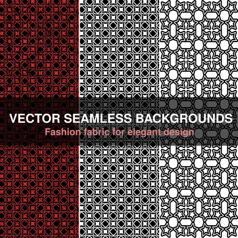 Zwarte witte rode naadloze patroonachtergrond Manierstof voor elegant ontwerp Abstracte geometrische kaders Modieuze decoratieve  vector illustratie
