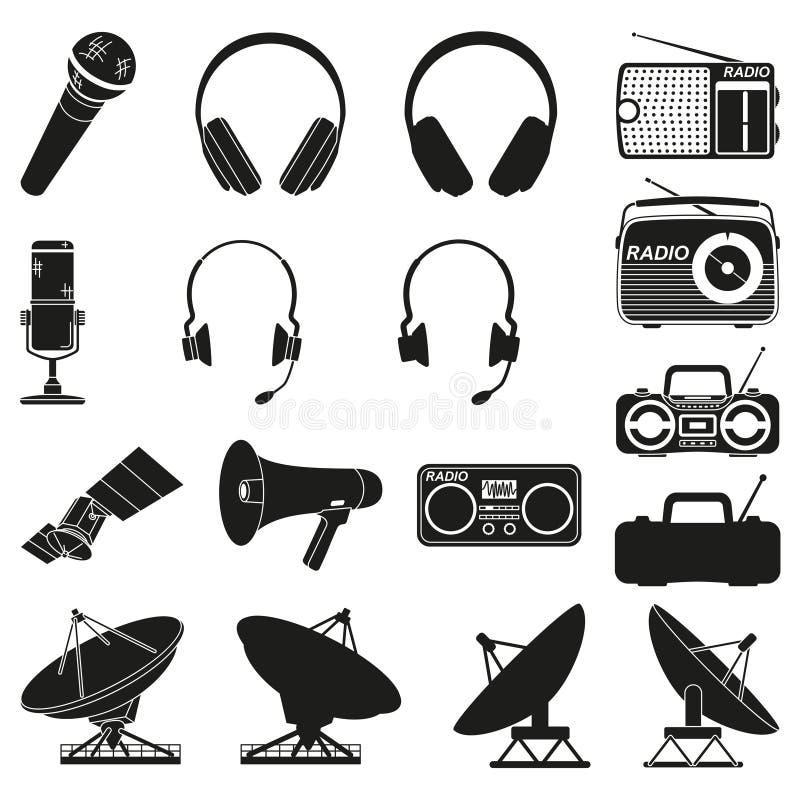 Zwarte witte 17 telecommunicatieelementen royalty-vrije illustratie