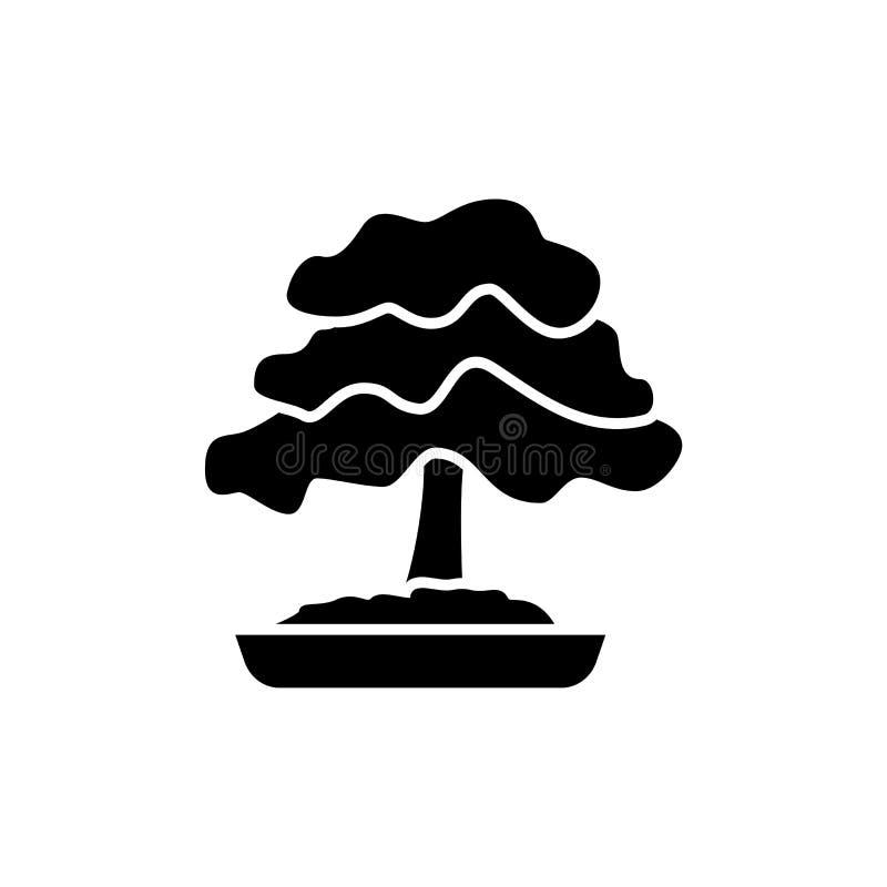 Zwarte & witte vectorillustratie van bonsai met bladeren in pot stock illustratie