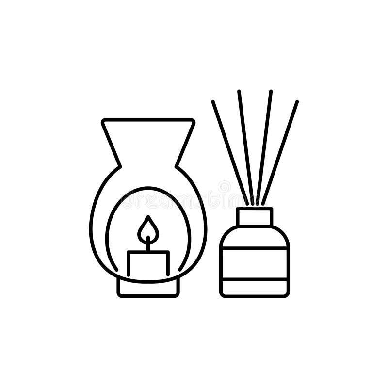 Zwarte & witte vectorillustratie van decoratieve brander met cand vector illustratie
