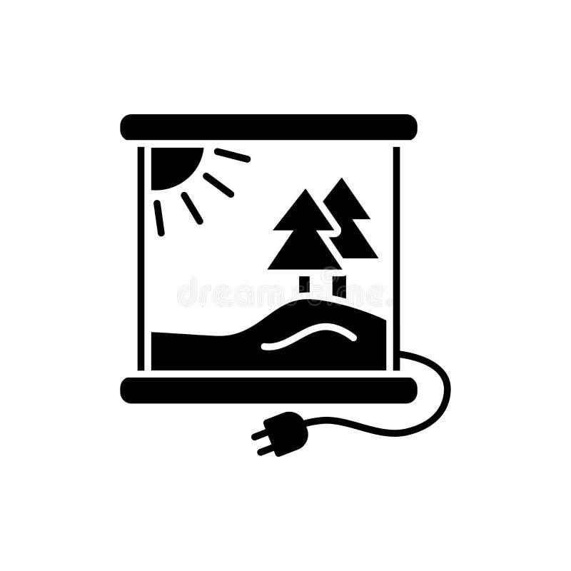 Zwarte & witte vectorillustratie van infrarood verwarmend paneel met stock illustratie
