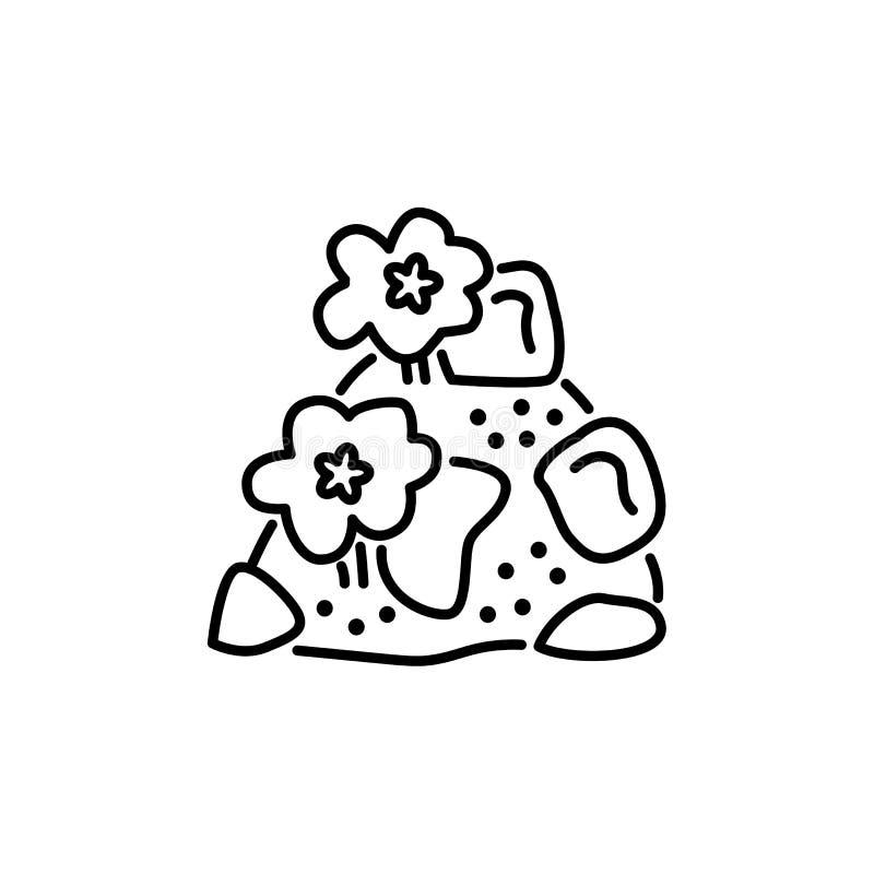 Zwarte & witte vectorillustratie van rockery met stenen & flowe stock illustratie