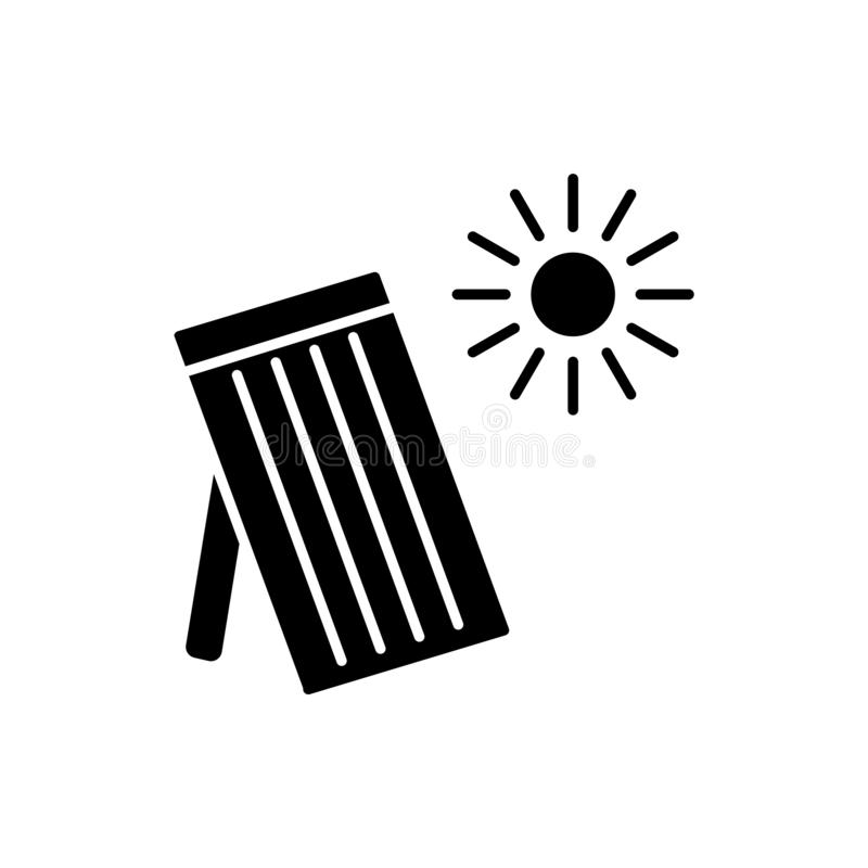 Zwarte & witte vectorillustratie van zonne thermisch paneel Huis royalty-vrije illustratie