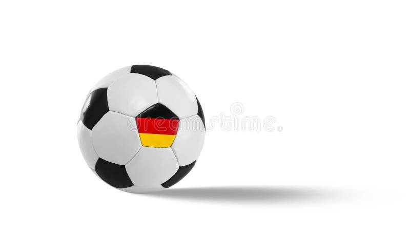 Zwarte Witte voetbal in leer stock afbeelding