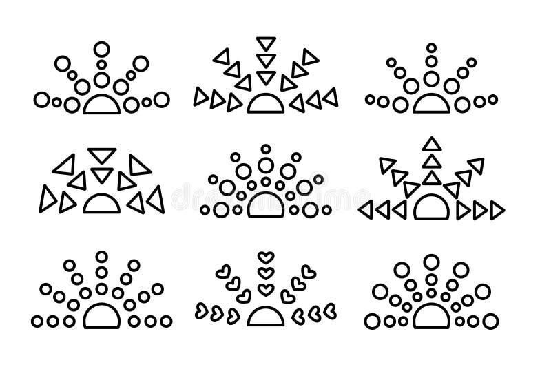 Zwarte & witte zonsopgang & zonsondergangsymboolinzameling De dunne reeks van het lijnpictogram Ochtend, die zonlichttekens gelij stock illustratie