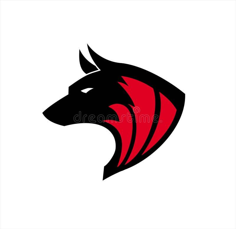 Zwarte wolf, Wilde wolf Zwarte wilde hond k-9, Hondembleem, Hondsembleem stock illustratie