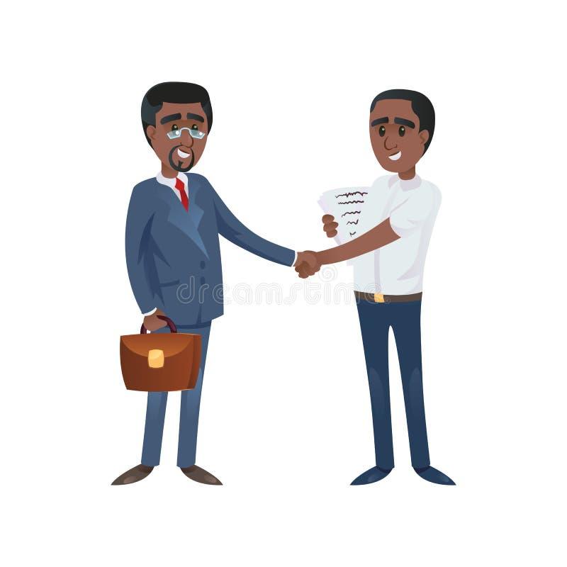 Zwarte zakenlieden die handen schudden vector illustratie