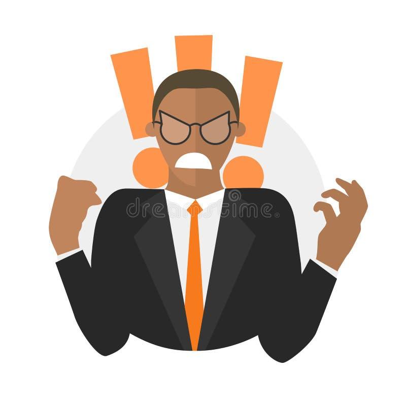 Zwarte zakenman in woede Vlak ontwerppictogram vector illustratie