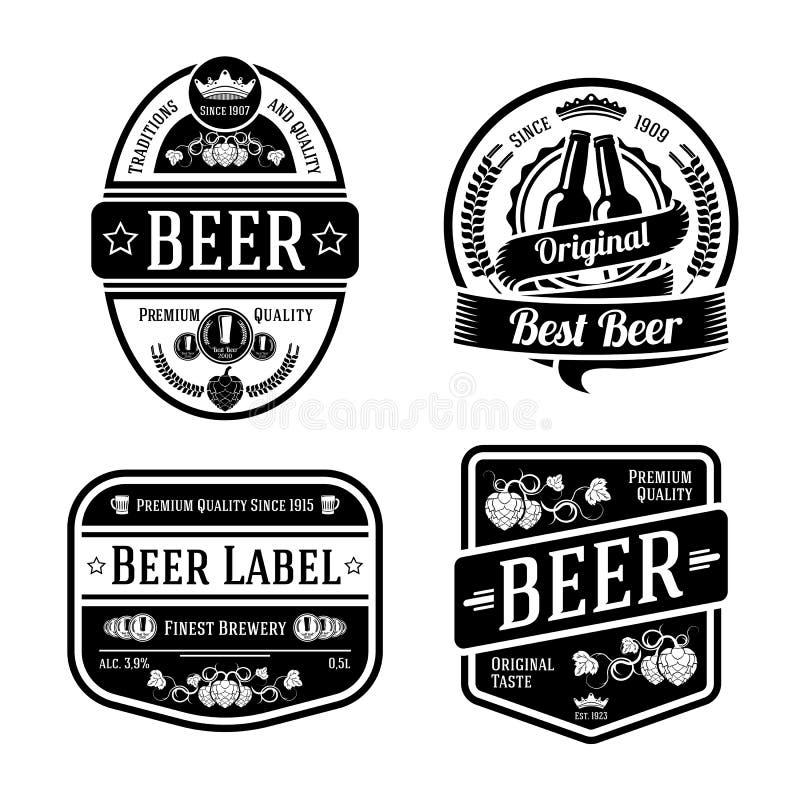 Zwarte zwart-wit bieretiketten van verschillende vormen royalty-vrije illustratie