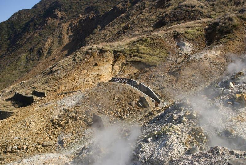 Zwavelachtige damp, Owakudani, Japan royalty-vrije stock fotografie