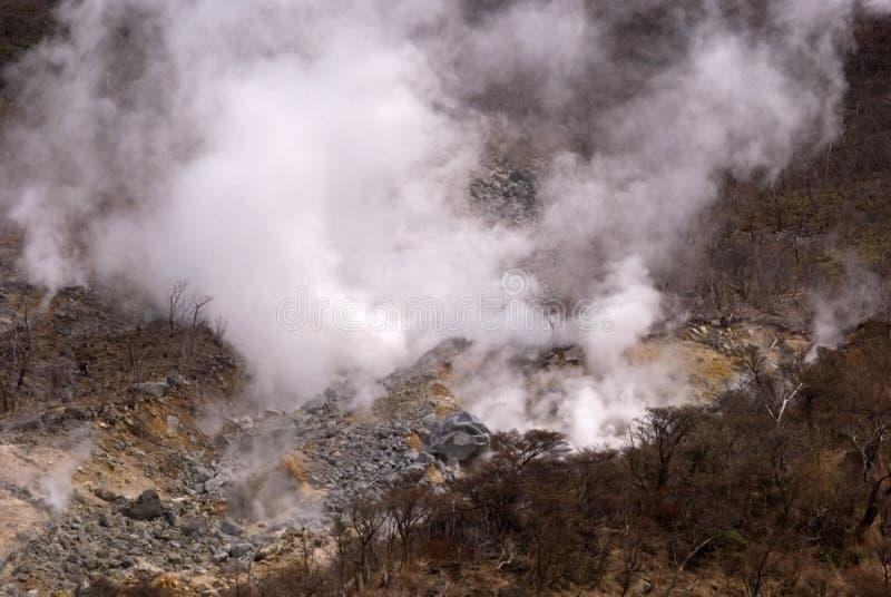 Zwavelachtige damp, Owakudani, Japan stock afbeelding