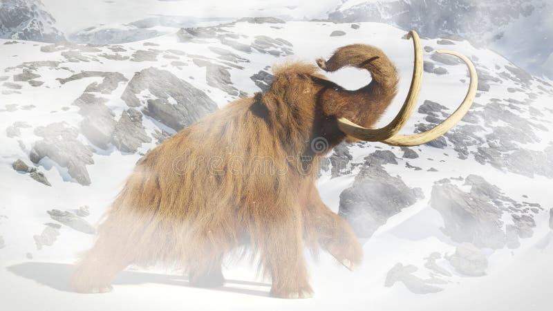 Zwełniony mamut, prehistoryczny ssak w epoka lodowcowa krajobrazie royalty ilustracja