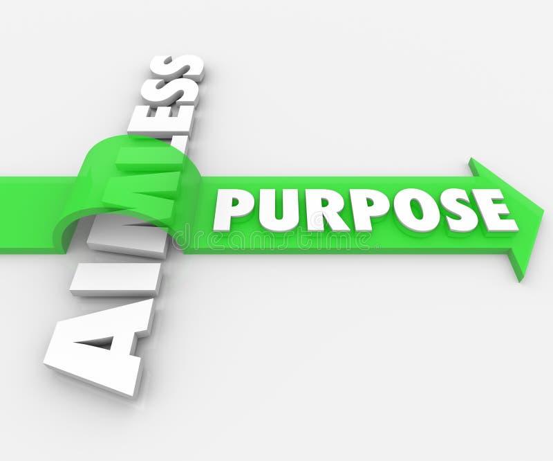 Zweck-Wort-Pfeil über ziellosem Bedeutungs-Ehrgeiz-Wunsch lizenzfreie abbildung