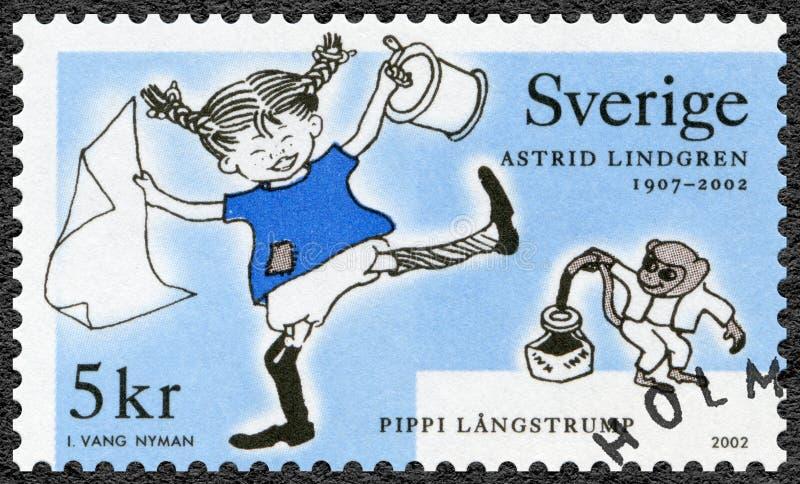 ZWEDEN - CIRCA 2002: toont Pippi Longstocking, reeks Astrid Anna Emilia Lindgren 1907-2002, Zweedse schrijver royalty-vrije stock afbeeldingen
