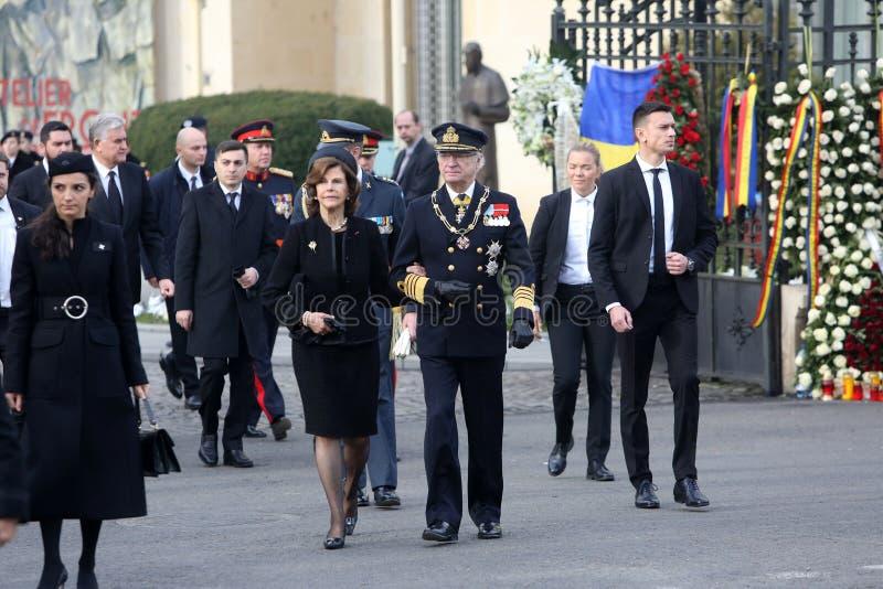Zweden ` s Koningin Silvia en Koning Carl XVI Gustaf stock foto