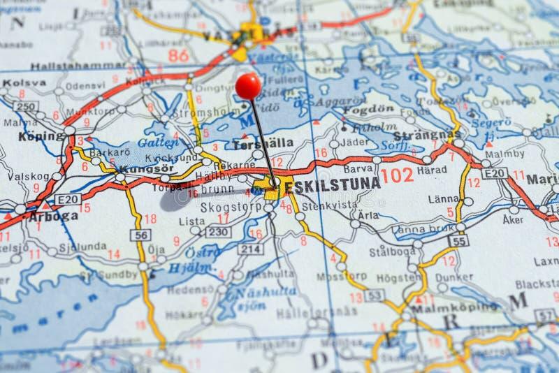 Zweden Stockholm, 07 April 2018: Europese steden op kaartreeks Close-up van Eskilstuna stock afbeelding
