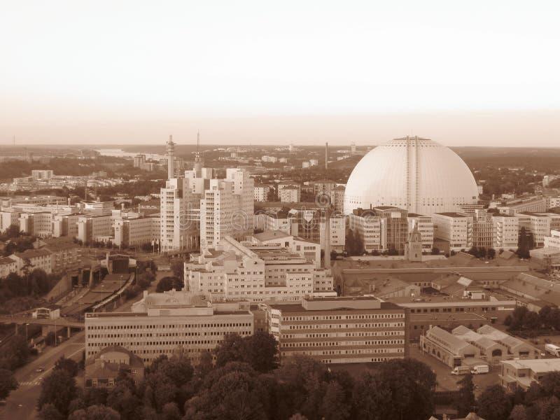 Zweden Stockholm globen mooie sepia van stadscapitalcity hotairbaloon vliegende ongelooflijke arena stock fotografie