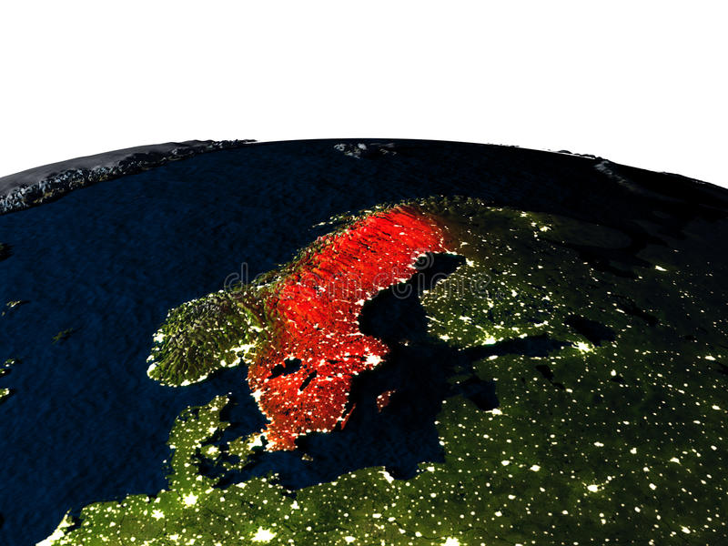 Zweden van ruimte bij nacht vector illustratie