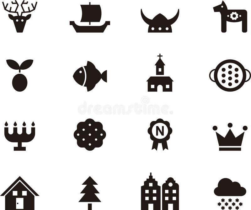 Zweden verwante glyph Webpictogrammen stock illustratie